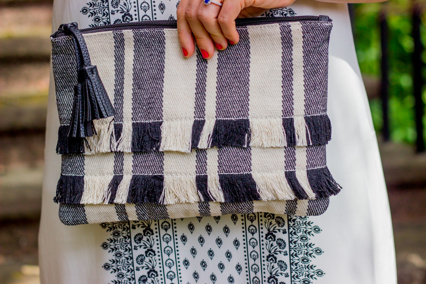 Old Navy Striped clutch on Belle Meets World