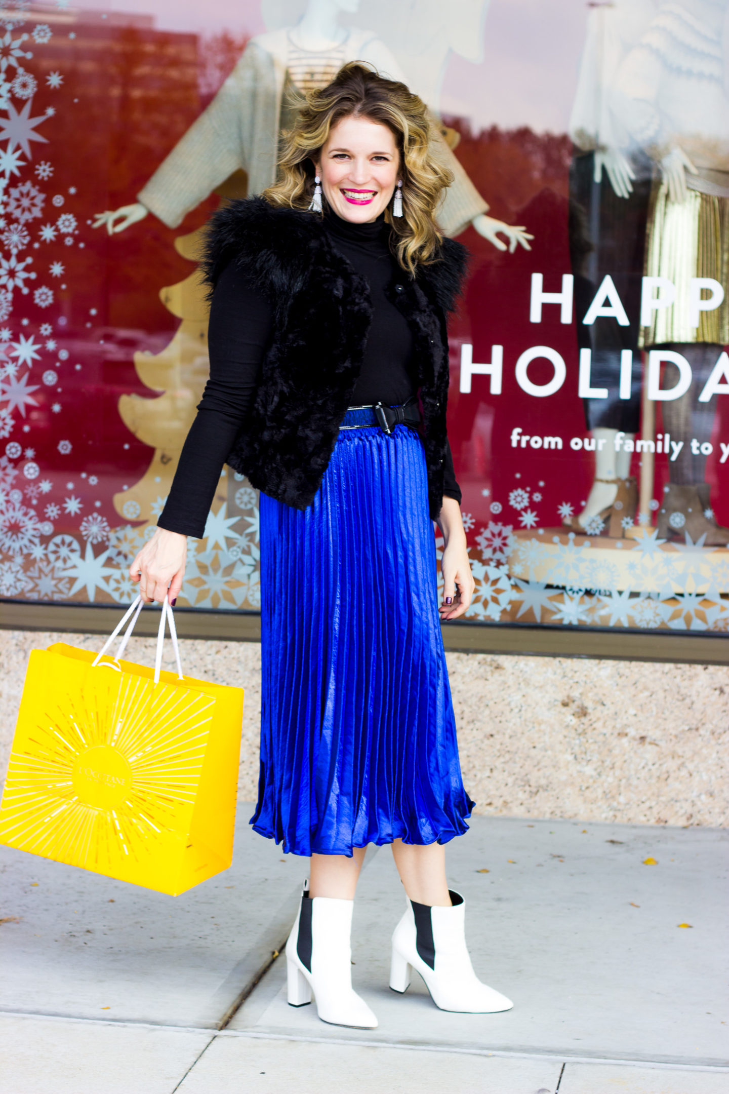 Holiday Outfit Idea - Metallic Pleated Skirt